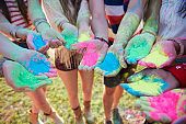 Summer festival with colour powders