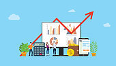 digital marketing budget financial campaign for advertising team people working together with graph and chart - vector