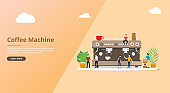 coffee machine for website template with people and cup of warm coffee - vector