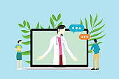 online female doctor consultations with doctor and patient and nurse on laptop - vector