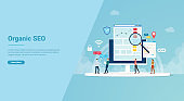 organic seo concept for website template or landing homepage banner - vector