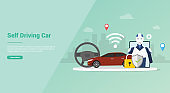 self driving car technology concept with robot intelligence for website template or banner landing homepage - vector