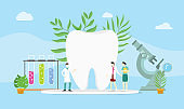 dental health concept with doctor and some equipment - vector