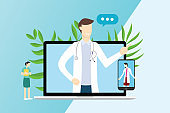 online doctor service technology for consultations with laptop and smartphone apps - vector