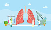 lungs healthy treatment concept mangement with team doctor discuss - vector
