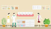 orthodontics dentist concept with team doctor and nurse people teeth with modern flat style - vector