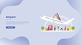 airport transportation for website template or landing homepage banner - vector