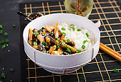 Stir fry with chicken, eggplant and boiled rice - Chinese food