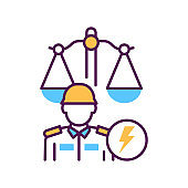 Military court line color icon. Judiciary concept. Officer in uniform element. Sign for web page, mobile app, button, logo.