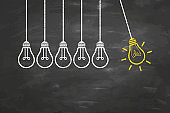 Idea Concepts with Light Bulb on Chalkboard Background