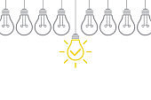 Idea Solution Concepts with Light Bulb