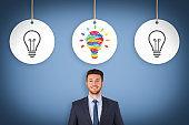 Creative idea concepts with light bulbs on a blue background