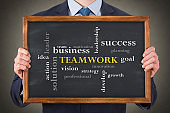 Teamwork Concepts with Business Person on Chalkboard Background