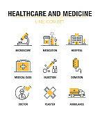 HEALTHCARE AND MEDICINE LINE ICON SET