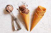 Balls of chocolate ice cream in the waffle cone