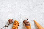 Background with chocolate ice cream, waffle cones