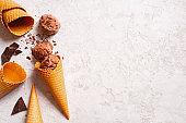Background with balls of chocolate ice cream