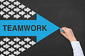 Teamwork Concepts with Arrows on Chalkboard Background
