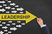 Leadership Concepts with Arrows on Blackboard Background