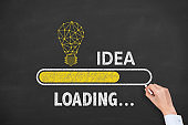 Loading Innovative Idea on Blackboard Background
