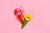 Concept of candy ice cream in the red waffle cones