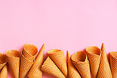 Background with empty waffle cones