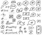 Hashtag social media set in doodle style