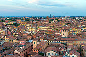Cityscape of Bologna, Italy during sunset