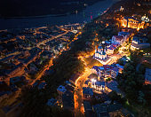 Evening Kiev, Ukraine. Aerial view