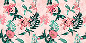 original trendy seamless artistic flower pattern, beautiful trop
