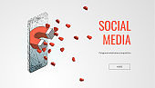 """Business concept vector illustration of a magnet come out from cellular phone to attract like or heart. Concept for social media marketing strategy getting more """"likes"""""""