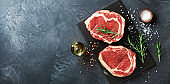 Fresh meat top view. Raw beef steak and spices for cooking.
