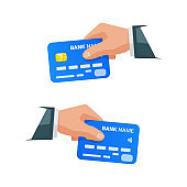 Hands holding bank cards. Isolated businessman holding credit card. Hand with NFC payment credit card. Bank card with contactless payment technology.