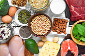 Selection of protein food sources. Meat, fish, vegetables, dairy, beans, nuts and seeds for healthy balance diet
