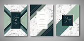 Terrazzo Wedding Invitation Card Set. Luxury Geometric Design Template for Greetings, Banner, Poster with Marble Texture. Save the Date, RSVP. Vector illustration