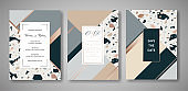 Terrazzo Wedding Invitation Card Set. Luxury Geometric Abstract Design Template for Greetings, Banner, Poster with Marble Texture. Save the Date, RSVP. Vector illustration