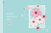 Happy Mothers Day Landing Page Template. Mothers Day Holiday Web Banner with Paper Cut Flowers for Flyer, Brochure, Website Spring Sale. Vector illustration