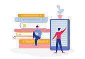 Electronic online library poster with computer and books, people character reading or student studying, e-book reader, modern literature fan concept. Flat cartoon vector illustration