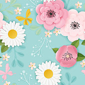Paper Cut Flowers Seamless Pattern. Spring Floral Origami Background. Botanical Graphic Design Fabric Texture for Wallpaper, Wrapping. Vector illustration