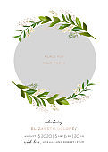 Baby Born Greeting Card with Floral Elements. Baby Shower Template Photo Frame with Flowers. Newborn Child, Wedding Invitation Save the Date Card with Wreath, Leaves. Vector illustration