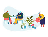 Senior People Spend Time in Nursing Home Engaging Playing Chess and Gardening Hobby. Elderly Male and Female Characters Having Leisure Fun and Relaxing Sparetime. Cartoon Flat Vector Illustration