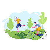 Group of people performing sports activities, leisure at park jogging, riding bicycles. Characters man doing outdoor workout. Flat cartoon vector illustration