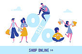 Woman with Shopping Bags and Presents. People Characters, Big sale, Discount and Advertising Banner, Flyer, Black friday, promo Poster Concept illustration in vector