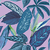 Tropical Leaves Background, Seamless Botanical Floral Pattern for cover, textile and fabric print in vector illustration