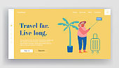 Old Woman Making Selfie on Smartphone Website Landing Page. Elderly Lady Saving Sweet Life Moments in Foreign Travel. Senior Tourist Traveling Abroad Web Page Banner. Cartoon Flat Vector Illustration