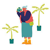 Senior Tourist Character Visiting Sightseeing Making Pictures on Photo Camera in Exotic Country. Old Woman Foreign Journey, Travel Agency Service, Traveling Excursion. Cartoon Flat Vector Illustration
