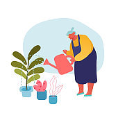 Senior Woman Gardening Hobby. Aged Grey Haired Female Character in Apron Caring of Home Plants in Pots. Old Lady Holding Watering Can Pouring Water in Domestic Flowers Cartoon Flat Vector Illustration