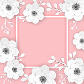 Paper Cut Flowers Frame