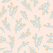 Floral Seamless Pattern with Plants and Branches. Fabric Botanical Background for Textile, Wrapping, Wallpaper. Fashion Print Minimal Design. Vector illustration