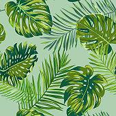 Retro dark palm leaves background pattern, tropical jungle illustration texture in vector for wallpaper, print, brochure, design